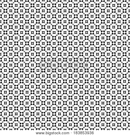 Vector monochrome seamless pattern, geometric texture, black rounded figures, crosses, squares, triangles on white backdrop. Modern abstract repeat background. Design for prints, decor, furniture