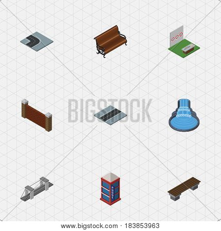 Isometric Architecture Set Of Barrier, Turning Road, Path And Other Vector Objects. Also Includes Telephone, Park, Booth Elements.