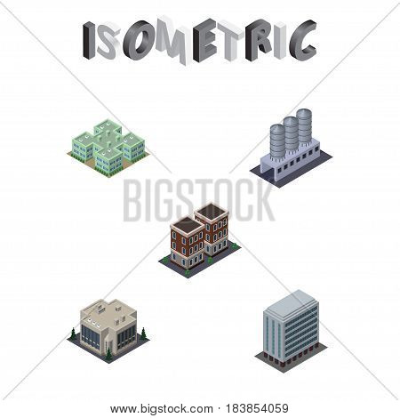 Isometric Urban Set Of House, Clinic, Company And Other Vector Objects. Also Includes Warehouse, Tank, Hospital Elements.