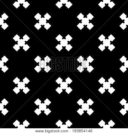 Vector monochrome minimalist texture, simple geometric pattern. White staggered crosses on black background. Stylish repeat dark backdrop. Design element for decoration, tileable print, textile, cover