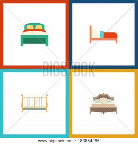 Flat Mattress Set Of Cot, Bearings, Bedroom And Other Vector Objects. Also Includes Furniture, Bed, Bearings Elements.