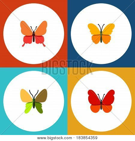 Flat Monarch Set Of Butterfly, Beauty Fly, Danaus Plexippus And Other Vector Objects. Also Includes Moth, Milkweed, Butterfly Elements.