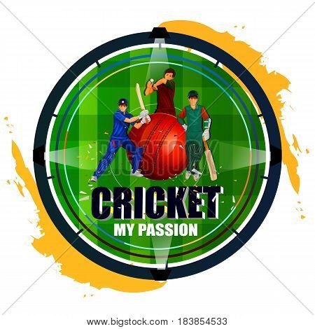 easy to edit vector illustration of player in abstract Cricket Championship background