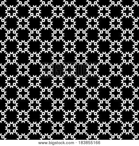 Vector monochrome seamless texture, abstract dark geometric pattern, diagonal lattice. Illustration of mesh in oriental style. Black and white design for prints, decoration, textile, furniture, fabric