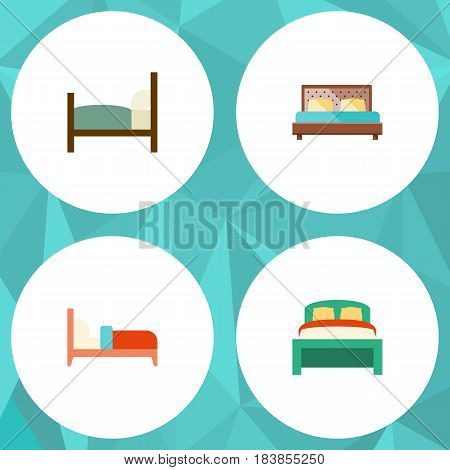 Flat Bed Set Of Furniture, Bearings, Bed And Other Vector Objects. Also Includes Furniture, Mattress, Bed Elements.