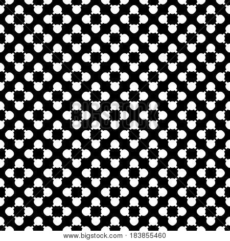 Simple monochrome vector texture, floral geometric seamless pattern. White flourish figures on black background, circles & lines, diagonal array. Modern abstract design for decor, digital, web, cover
