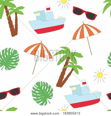 Summer seamless sea pattern on a white background. A vector picture with points, a palm tree, the ship and the sun