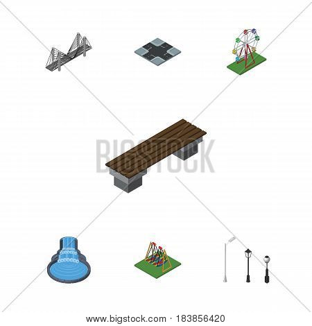 Isometric City Set Of Bridge, Seesaw, Garden Decor And Other Vector Objects. Also Includes Crossroad, Lights, Bridge Elements.