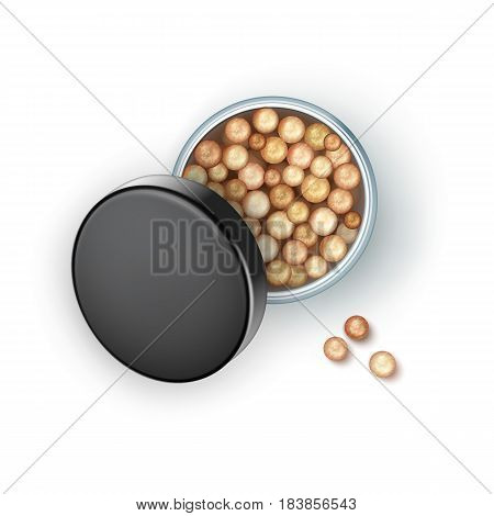 Vector Open Bronzing Pearls box with Black Cap Rouge Balls Isolated on White Background