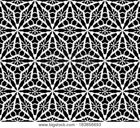 Vector monochrome seamless pattern, black & white mosaic, geometric texture, repeat tiles. Abstract geometrical background with frostwork, snowy figures. Stylish design for print, decor, textile, web