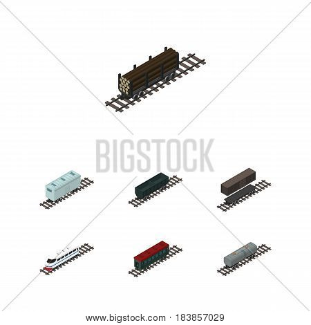 Isometric Wagon Set Of Carbon Railway Container, Oil Wagon, Subway Vehicle And Other Vector Objects. Also Includes Tank, Carriage, Container Elements.