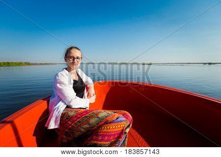 Girl In Red Lotus Lake