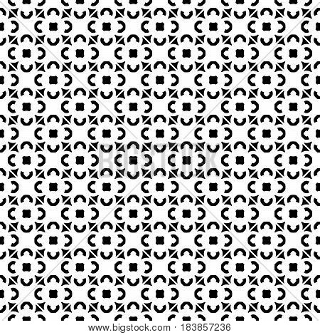 Vector monochrome texture, geometric seamless pattern. Illustration in oriental Arabian style, traditional motif. Black & white small geometric shapes, repeat tiles. Original abstract background