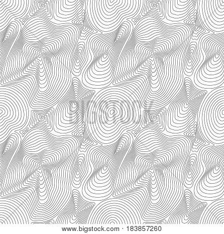 Vector monochrome seamless pattern, curved lines, black & white layered texture. Abstract endless dynamical rippled surface, visual halftone 3D effect, illusion of move. Stylish modern digital design