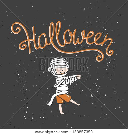 Hand drawn Halloween lettering with zombie boy. Child in costume with pumpkin. Vector illustration for greeting card poster or print design.