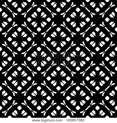 Vector monochrome texture, subtle geometric seamless pattern. Black & white abstract background, traditional motif, oriental style. Repeat tiles. Dark design element for prints, decor, textile, cover