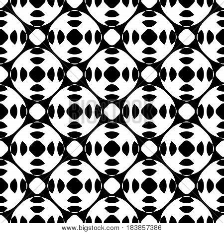 Vector seamless pattern, abstract black & white repeat texture. Simple geometric figures, perforated circles, rounded lattice. Endless monochrome background. Design for print, decor, textile, fabric