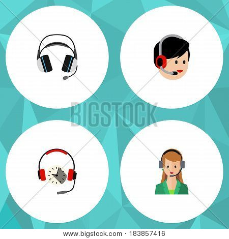 Flat Hotline Set Of Earphone, Headphone, Operator And Other Vector Objects. Also Includes Operator, Human, Earphone Elements.