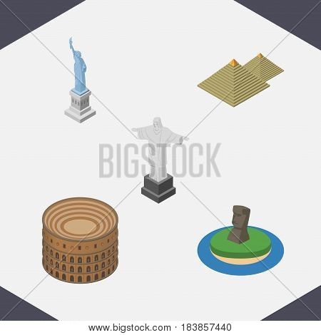 Isometric Attraction Set Of Rio, Chile, Coliseum And Other Vector Objects. Also Includes MoAI, Attraction, Coliseum Elements.