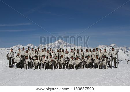 France Alps - December 4 2011. General photo of legionnaires-sappers of the 2nd foreign engineering regiment of the French foreign legion during the mountain training.