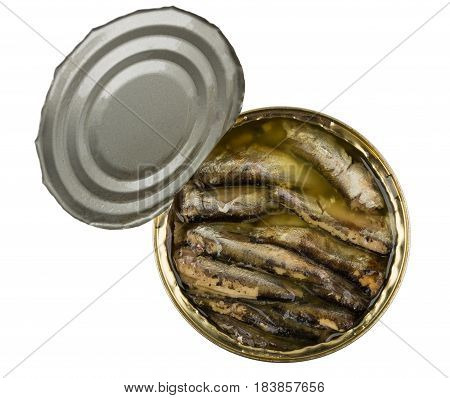 Opened Tin Can With Sparts In Oil Isolated On White