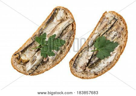 Two Sandwiches With Sparts In Oil And Parsley On White