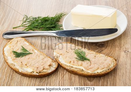 Sandwiches With Pike Perch Caviar, Saucer With Butter, Dill