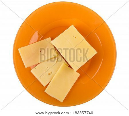 Pieces Of Cheese In Orange Plate Isolated On White Background