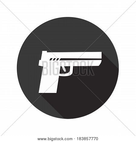 Gun vector flat icon with shadow. Round button