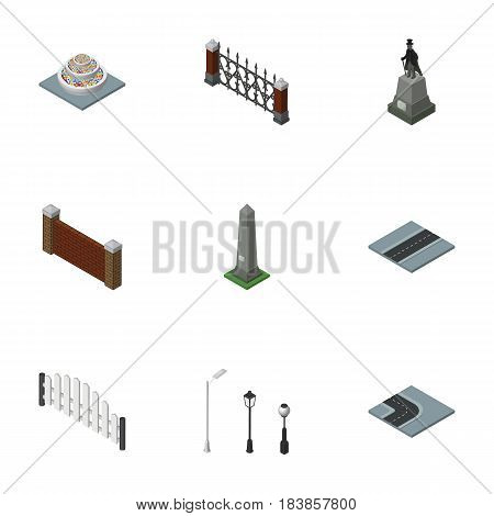 Isometric Urban Set Of Barricade, Sculpture, Fence And Other Vector Objects. Also Includes Decoration, Washington, Fence Elements.