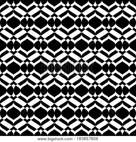 Vector monochrome seamless texture, abstract geometric pattern, smooth lines, geometrical shapes. Abstract design element for decoration, cover, playing card back, package, textile, furniture, cloth