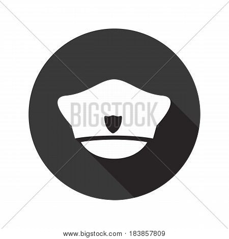 Police cap vector flat icon with shadow. Round button