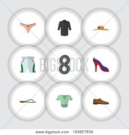 Flat Garment Set Of Lingerie, Elegant Headgear, Beach Sandal Vector Objects. Also Includes Shirt, Headgear, Sandal Elements.