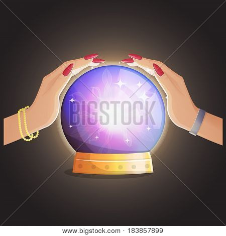 Illustration of a gypsy fortune teller working and making predictions with a magic globe shiny speare with thunders and supernatural glow.