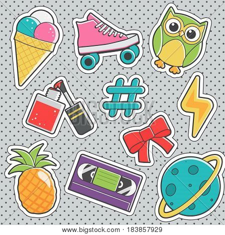 Set of fun trendy vintage sticker fashion badges with ice cream, wise owl, nail polish, hashtag, pineapple, video cassette. Vector illustrations for iron on patches, transfer tottoos, sew on chevron.