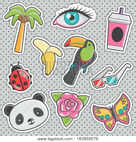Set of fun trendy vintage sticker fashion badges with toucan, ladybug, paper drink glass, anaglyph cinema set, panda head. Vector illustrations for iron on patches, transfer tottoos, sew on chevron.