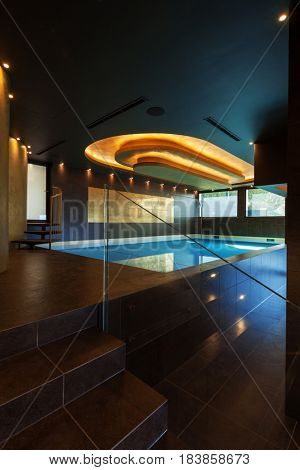 Swimming pool in interior, nobody