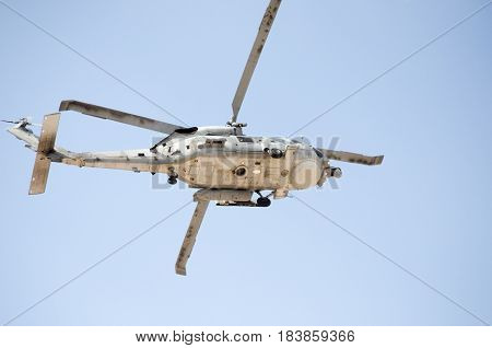 Black hawk helicopter rescue team.Down radar view blue sky
