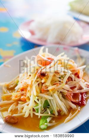 Thai papaya salad traditional Thai food (Som Tum)