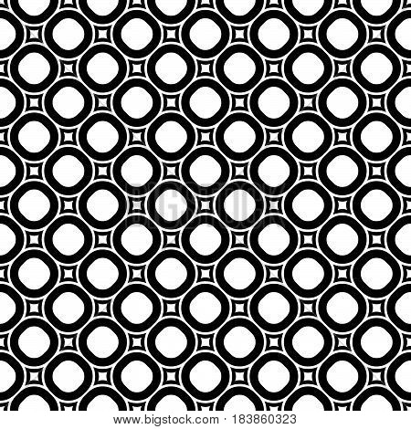 Vector monochrome repeat texture, black and white geometric seamless pattern with circles and rounded squares. Simple abstract background, old style fashion. Design for decor, textile, prints, fabric