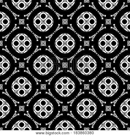 Ornament seamless pattern, arabic monochrome texture, geometric tiles. Repeat abstract black & white background. Illustration of rounded lattice in oriental style. Design for prints, decor, textile
