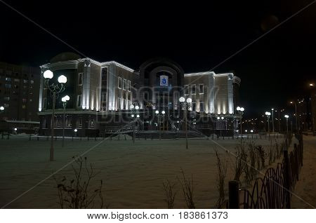 New Urengoy, YaNAO, North of Russia. October 19, 2013. View on the wedding palace in winter night.