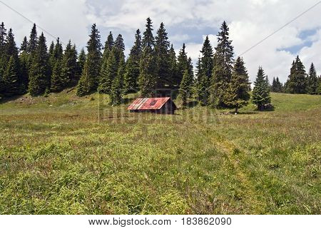 wooden hut on Stredna polana mountain meadow with pathway and trees on the background bellow Velky Choc hill in Chocske vrchy mountains in Slovakia