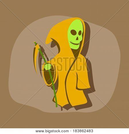 paper sticker on stylish background of halloween death scythe