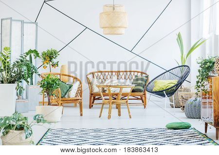 White living room with round chair rattan sofa and table