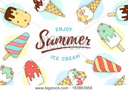 Ice cream icons pattern isolated on white with text Enjoy Summer, Ice Cream. Pattern with colorful icons ice-cream and popsicle in line graphic. Design for ice-cream shop, cafe. Vector Illustration