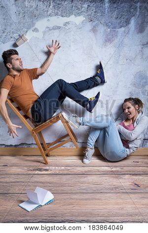 Man Thrown Off The Chair