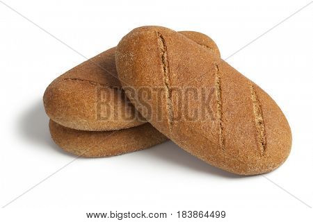 Fresh baked moroccan brown bread on white background