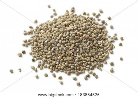 Heap of pearl millet close up on white background