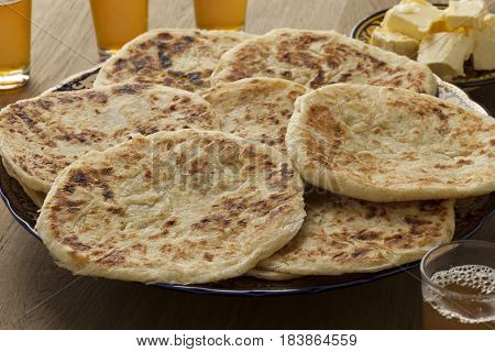 Traditional fresh baked Moroccan pancakes, meloui for breakfast
